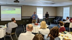 David Hiller, local Vocational Rehabilitation manager of NC Department of Health and Human Services, answers questions about workforce development from local HR managers