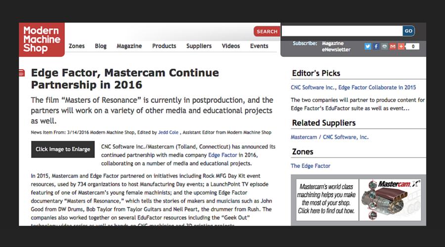 Edge Factor, Mastercam Continue Partnership in 2016